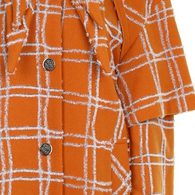 check pattern layered coat orange